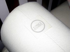 logo on foam cover